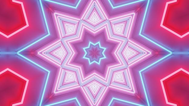 Renderowanie abstrakcyjnego futurystycznego tła ze świecącymi neonowymi niebieskimi, różowymi i czerwonymi światłami
