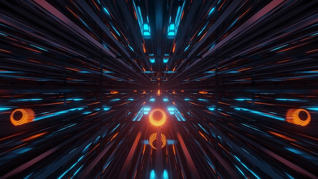 Renderowanie abstrakcyjnego futurystycznego tła ze świecącymi neonowymi niebiesko-zielonymi i pomarańczowymi światłami