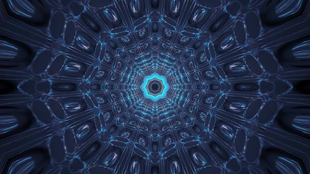 Renderowanie abstrakcyjnego, futurystycznego tła ze świecącymi neonowymi niebiesko-zielonymi światłami