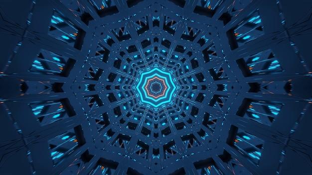 Renderowanie abstrakcyjnego futurystycznego tła ze świecącymi neonowymi niebiesko-zielonymi światłami