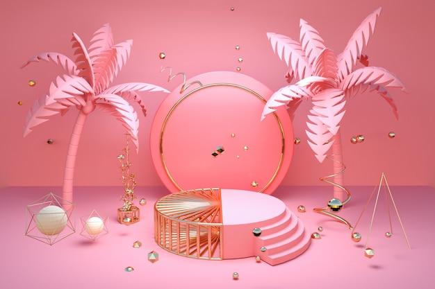 Renderowanie abstrakcyjnego różowego kształtu geometrycznego z letnią koncepcją produktu stoiska