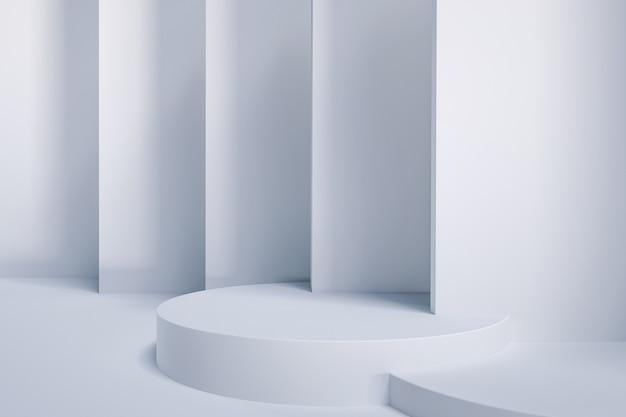 Renderowanie abstrakcyjnej białej platformy z podium na stojak na produkty