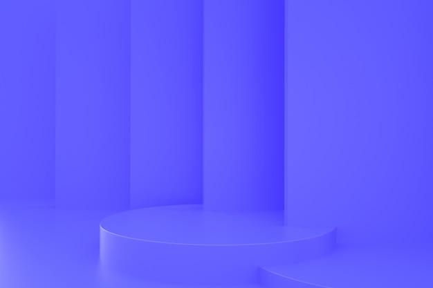 Renderowanie abstrakcyjnej niebieskiej platformy z podium na stojak na produkty