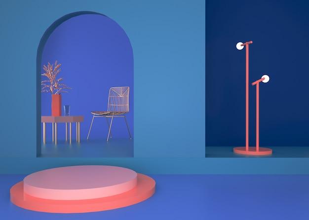 Renderowanie abstrakcyjnej platformy geometrycznej z okrągłym podium na stojak na produkty