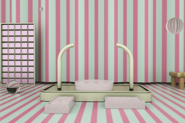 Renderowanie abstrakcyjnej pozbawionej platformy z podium na stojak na produkty