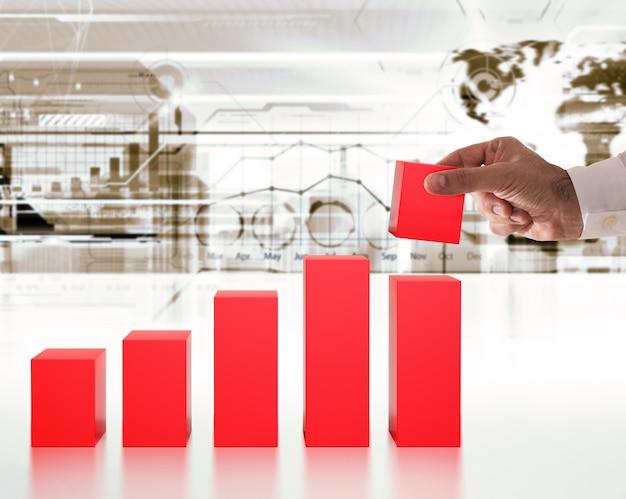 Renderowanie biznesmena tworzy statystykę kroków