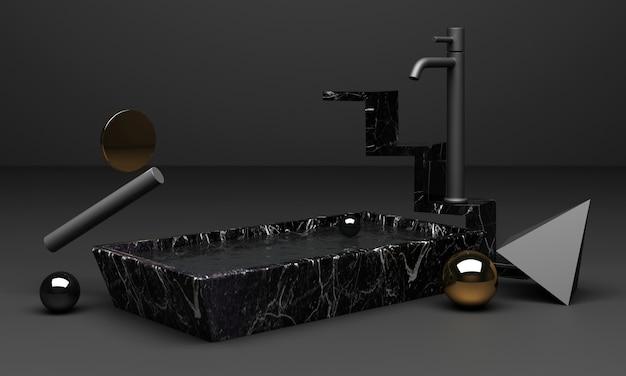 Renderowanie czarnego podium używane do prezentacji produktu