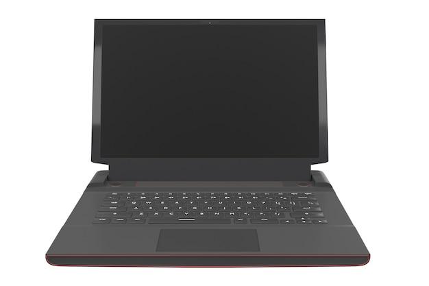 Renderowanie d nowoczesnego laptopa do gier ze światłami rgb na białym tle