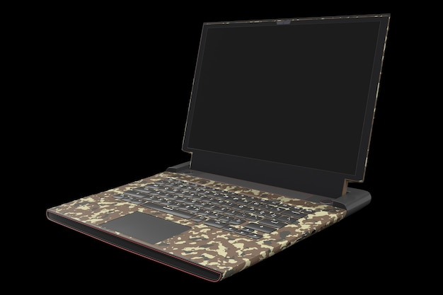 Renderowanie d nowoczesnego laptopa do gier ze światłami rgb na czarnym tle
