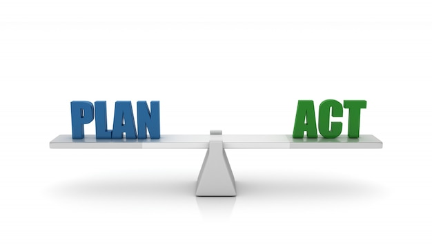Renderowanie ilustracja huśtawki ze słowami plan act