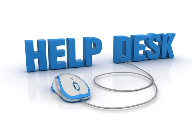 Renderowanie ilustracji help desk word za pomocą myszy komputerowej
