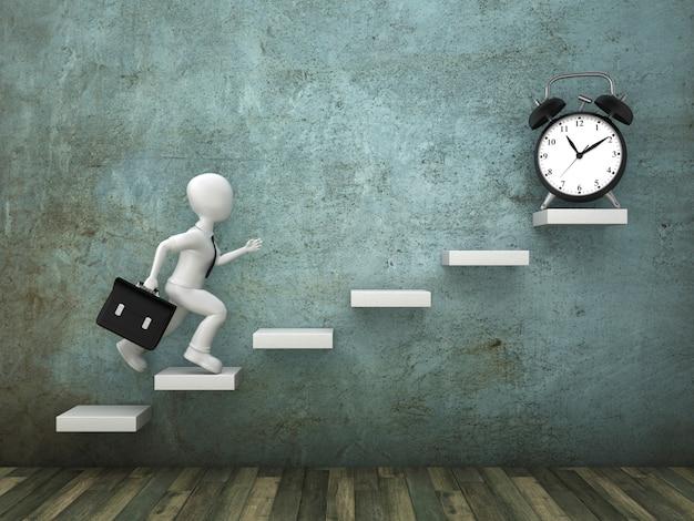 Renderowanie ilustracji osoby kreskówki i zegara na schodach