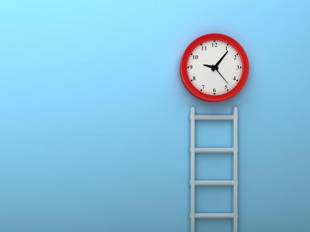Renderowanie ilustracji schodów i zegara na niebieskiej ścianie