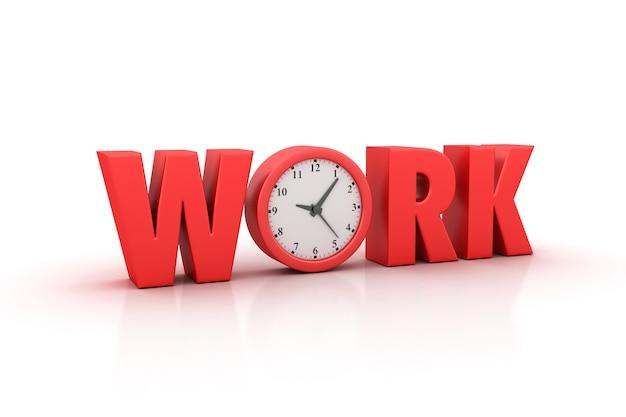 Renderowanie ilustracji słowa pracy z zegarem