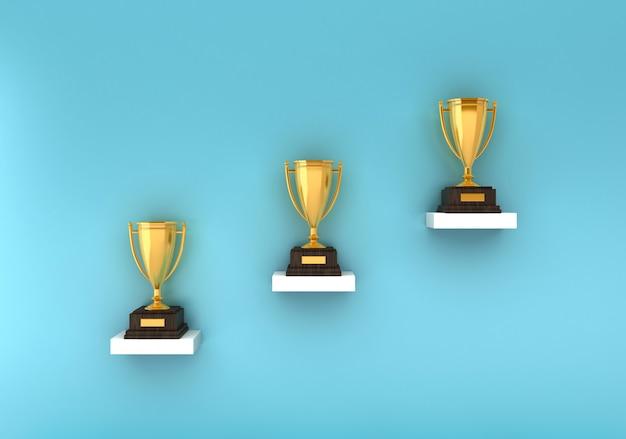 Renderowanie ilustracji trofeów na schodach