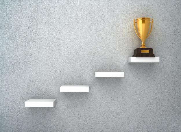 Renderowanie ilustracji trofeum na schodach