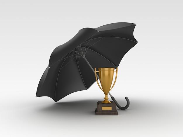 Renderowanie ilustracji trofeum z parasolem