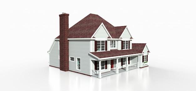 Renderowanie klasycznego amerykańskiego wiejskiego domu. 3d ilustracji.