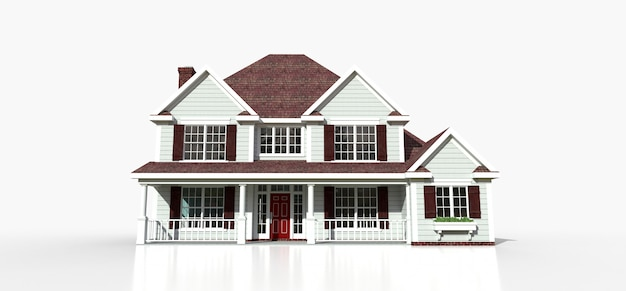 Renderowanie klasycznego amerykańskiego wiejskiego domu