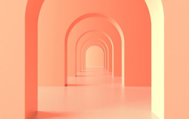 Renderowanie korytarza architektonicznego korytarza łukowego