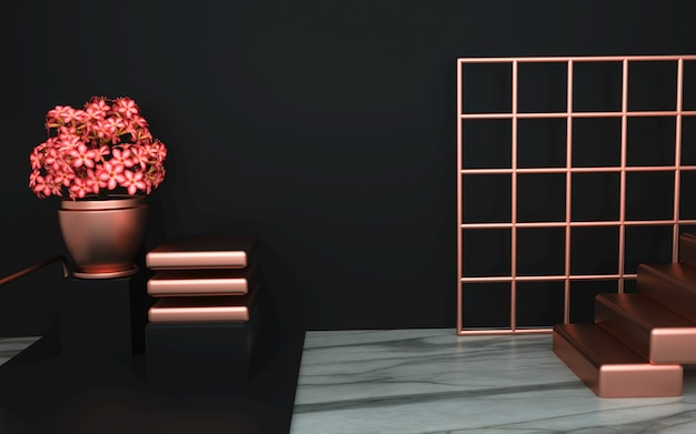 Renderowanie luksusowej czarnej platformy dla produktu stojącego