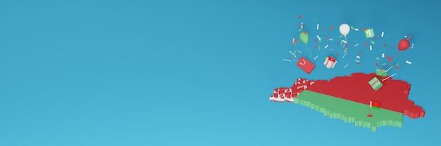 Renderowanie mapy 3d flagi białorusi z okazji narodowego dnia zakupów i dnia niepodległości