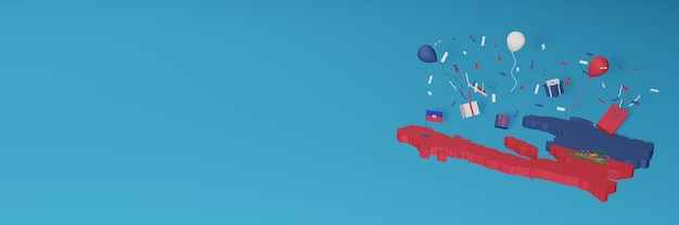 Renderowanie mapy 3d flagi haiti z okazji narodowego dnia zakupów i dnia niepodległości