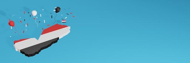 Renderowanie mapy 3d w połączeniu z flagą kraju jemenu dla mediów społecznościowych i dodanym tłem strony internetowej czerwone białe czarne balony z okazji święta niepodległości i narodowego dnia zakupów