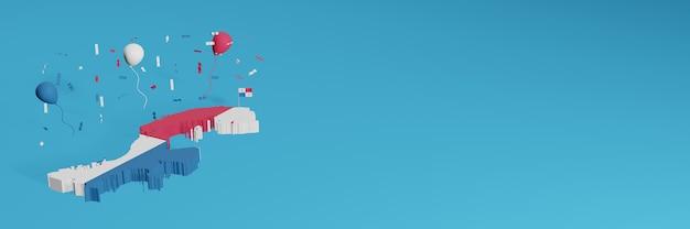 Renderowanie mapy 3d w połączeniu z flagą kraju panamy w mediach społecznościowych i dodana okładka tła strony internetowej białe, czerwono-niebieskie balony z okazji święta niepodległości i krajowego dnia zakupów