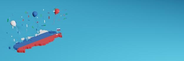 Renderowanie mapy 3d w połączeniu z flagą kraju rosji dla mediów społecznościowych i dodaną okładką tła strony internetowej niebieskie białe czerwone balony z okazji święta niepodległości i krajowych zakupów