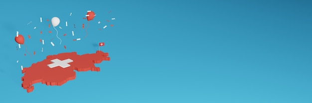 Renderowanie mapy 3d w połączeniu z flagą kraju szwajcarii dla mediów społecznościowych i plusem tła strony internetowej czerwone i białe balony z okazji święta niepodległości i narodowego dnia zakupów