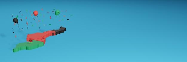 Renderowanie mapy 3d w połączeniu z flagą malezji w mediach społecznościowych i dodana okładka tła strony internetowej czarne niebieskie czerwone balony z okazji święta niepodległości i narodowego dnia zakupów