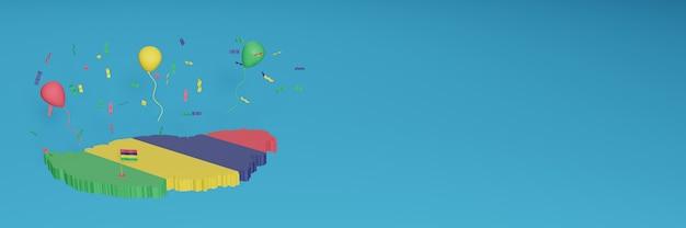 Renderowanie mapy 3d w połączeniu z flagą mauritiusa dla mediów społecznościowych i dodanym tłem strony internetowej czerwone, niebieskie, żółte, zielone balony z okazji święta niepodległości i krajowego dnia zakupów