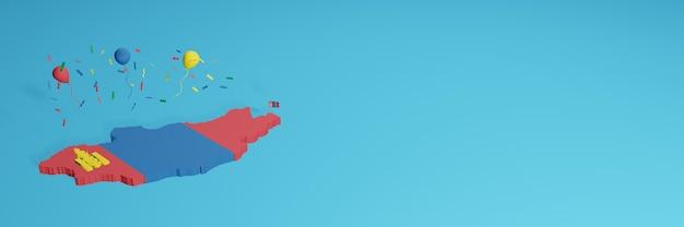 Renderowanie mapy 3d w połączeniu z flagą mongolii dla mediów społecznościowych i dodana okładka tła strony internetowej czerwone, niebieskie, żółte balony z okazji święta niepodległości i krajowego dnia zakupów