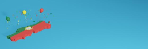 Renderowanie mapy 3d w połączeniu z flagą portugalii na potrzeby mediów społecznościowych i dodaniem tła strony internetowej czerwone zielone balony z okazji święta niepodległości i narodowego dnia zakupów