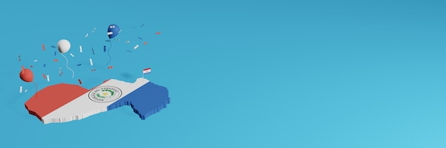Renderowanie mapy 3d w połączeniu z flagą stanu paragwaj dla mediów społecznościowych i dodaniem okładki tła strony internetowej białe, czerwono-niebieskie balony z okazji święta niepodległości i krajowego dnia zakupów