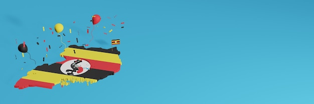 Renderowanie mapy 3d w połączeniu z flagą ugandy dla mediów społecznościowych i dodaną okładką tła strony internetowej czerwone żółte czarne balony z okazji święta niepodległości i narodowego dnia zakupów