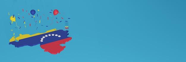 Renderowanie mapy 3d w połączeniu z flagą wenezueli dla mediów społecznościowych i dodaną okładką tła strony internetowej czerwone żółte niebieskie balony z okazji święta niepodległości i narodowego dnia zakupów