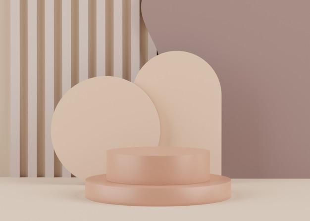 Renderowanie minimalnego pustego podium z geometrycznymi kształtami do makiety i wyświetlania produktu