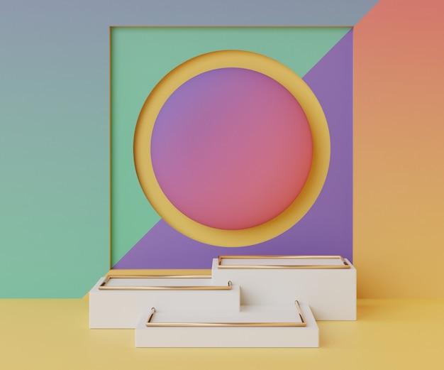 Renderowanie minimalnej pustej sceny podium z geometrycznymi kształtami do prezentacji produktów