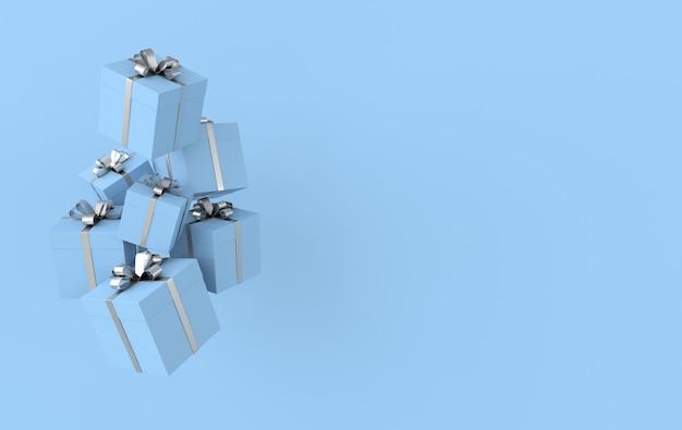 Renderowanie niebieskiego pudełka z kokardą srebrną wstążką
