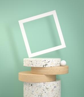Renderowanie nowoczesnego wyświetlacza cylindrycznego z marmuru i drewna dębowego z białą ramą na zielonej mięty