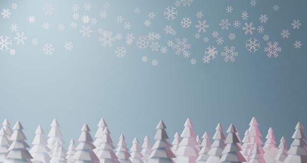 Renderowanie obrazu 3d. płatki śniegu spadają z błękitnego nieba nad lasem choinki. kolorowego 3d renderingu bożych narodzeń nowego roku wakacyjny pojęcie.