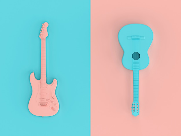 Renderowanie obrazu 3d w stylu płaskiej lay dwóch gitar elektrycznych