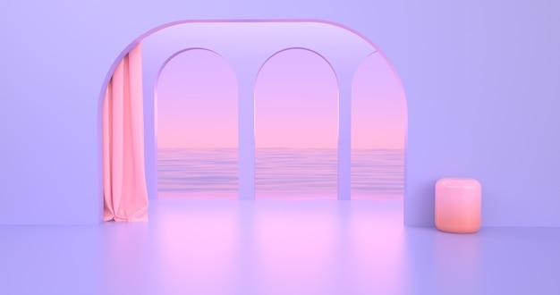 Renderowanie obrazu abstrakcyjny kolorowy geometryczny kształt.