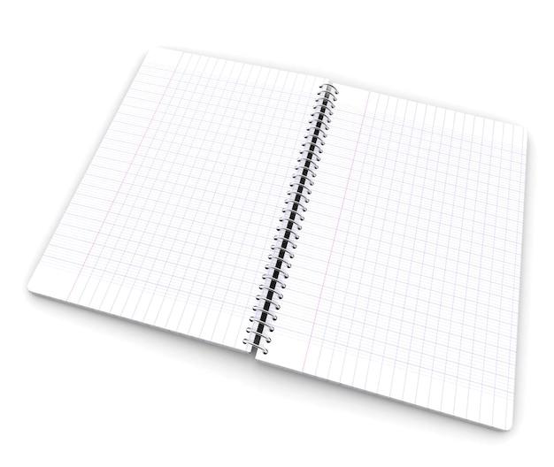 Renderowanie otwartego notatnika z papieru milimetrowego przedstawiającego dwie strony