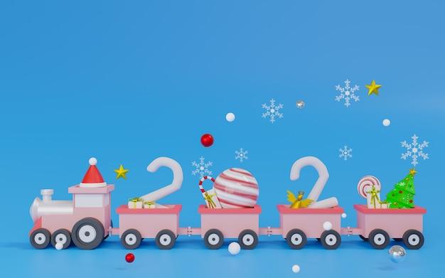 Renderowanie pociąg minimalny motyw wesołych świąt i szczęśliwego nowego roku.