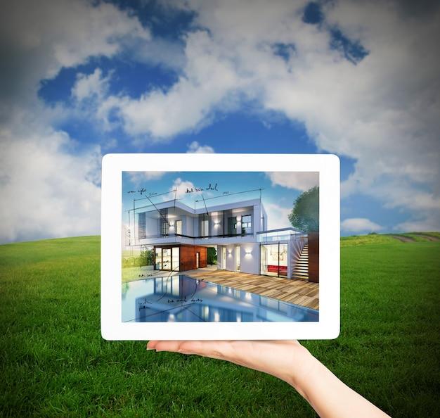 Renderowanie projektu nowego domu na ekranie tabletu z łąką