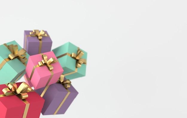 Renderowanie realistycznego kolorowego pudełka ze złotą wstążką