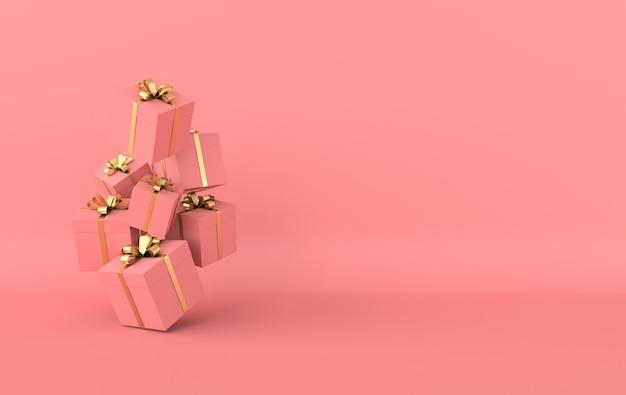 Renderowanie różowego pudełka ze złotą wstążką w różowym studio